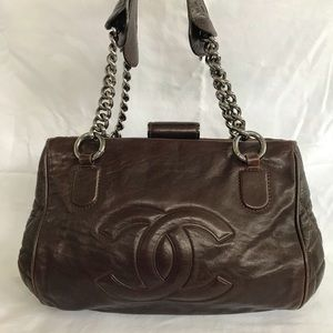 Authentic CHANEL brown leather quilted sides tote